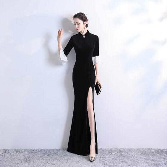 Chinese style Black Velour Winter Cheongsam / Qipao 2020 Trumpet / Mermaid High Neck 3/4 Sleeve Bell sleeves Rhinestone Flower Split Front Floor-Length / Long Formal Dresses