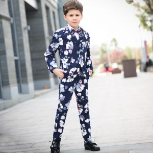 Colored Printing Navy Blue Boys Wedding Suits 2018