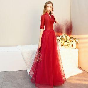Vintage / Originale Rouge Satin Robe De Soirée 2019 Princesse V-Cou 1/2 Manches Longue Volants Robe De Ceremonie