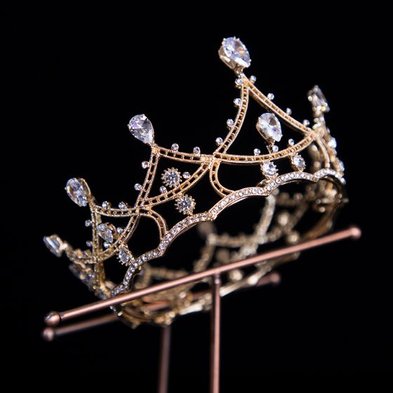 Vintage / Retro Gold Bridal Hair Accessories 2020 Metal Rhinestone Tiara Bridal Accessories