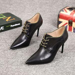 Enkel Svart Gateklær Ankel Kvinners støvler 2021 Lær 7 cm Stiletthæler Spisse Boots