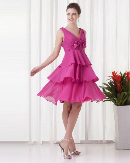 V Cou Genou Longueur Fleur Volants Plisses Femmes Mousseline De Soie Petite Robe De Fete