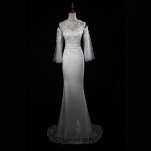 Elegante Ivory / Creme Brautkleider 2018 Mermaid Mit Spitze Applikationen Schultern Rückenfreies 3/4 Ärmel Sweep / Pinsel Zug Hochzeit