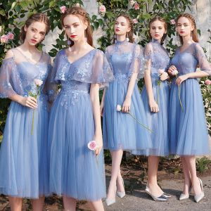 Discount Sky Blue Bridesmaid Dresses 2019 A-Line / Princess See-through Appliques Lace Tea-length Ruffle Backless Wedding Party Dresses