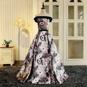 Hada de las flores Multi-Colors Largos Vestidos de noche 2018 Impresión Charmeuse A-Line / Princess Sin Espalda Sin Tirantes Noche Vestidos de gala