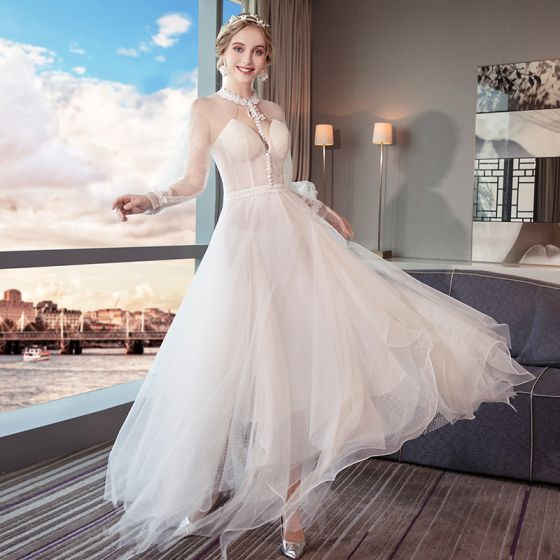 Modern Fashion Summer See Through Ivory Beach Wedding Dresses 2018 A Line Princess High Neck Long Sleeve Backless Appliques Lace Ruffle Ankle