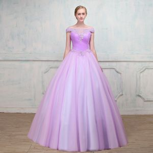 Chic / Beautiful Lilac Prom Dresses 2018 Ball Gown See-through Square Neckline Cap Sleeves Beading Rhinestone Floor-Length / Long Ruffle Backless Formal Dresses