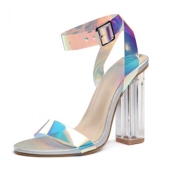 Moda Degradado De Color Rave Club Sandalias De Mujer 2020 Correa Del Tobillo 8 cm Talones Gruesos Peep Toe Sandalias