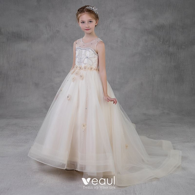 Elegantes Champán Transparentes Vestidos Para Niñas 2018 A Line Princess Scoop Escote Sin Mangas Apliques Flor Perla Rhinestone Colas De La Corte