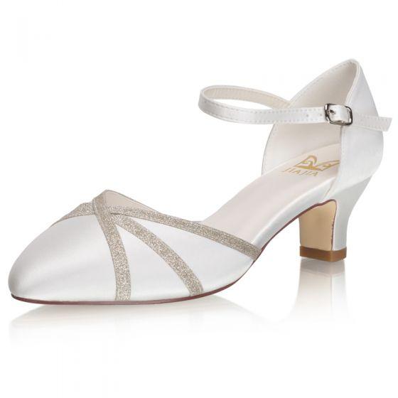 Elegant Ivory Satin Glitter Wedding Shoes 2021 5 cm Thick Heels Pointed Toe Wedding High Heels