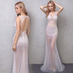 Sexy Blanche Transparentes Robe De Soirée 2019 Trompette / Sirène Faux Diamant V-Cou Sans Manches Dos Nu Tribunal Train Robe De Ceremonie