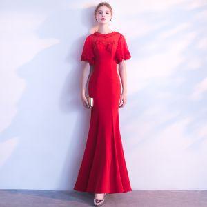 Schöne Rot Abendkleider 2018 Mermaid Mit Spitze Applikationen Pailletten Rundhalsausschnitt 1/2 Ärmel Lange Festliche Kleider