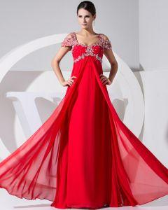 Stylish Solid Chiffon Silk V Neck Beading Sleeveless Backless Floor Length Pleated Evening Dress