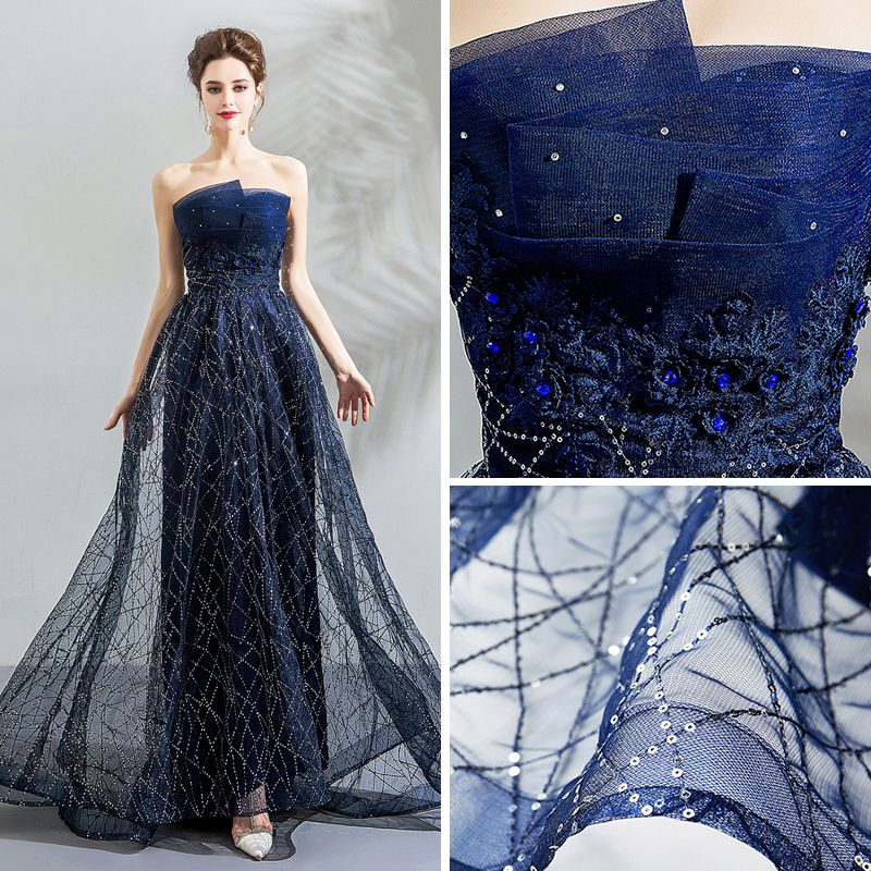 Bling Bling Navy Blue Evening Dresses  2018 Empire Strapless Sleeveless Crystal Sequins Sweep Train Ruffle Backless Formal Dresses