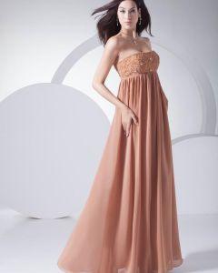 Mode Mousseline De Soie Comme Volants En Satin Perlage Robe De Soirée Sans Bretelles De Longueur