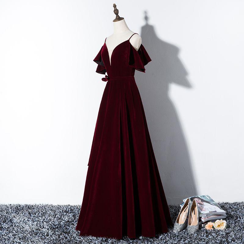 Elegante Bordeaux Avondjurken 2019 A lijn Spaghettibandjes Suede Strik Korte Mouwen Ruglooze Lange Gelegenheid Jurken