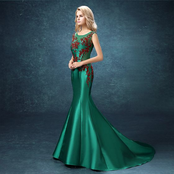 Chic / Beautiful Evening Dresses  2017 Dark Green Court Train Trumpet / Mermaid Scoop Neck Sleeveless Backless Rhinestone Beading Sequins Pearl