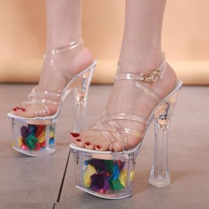 Sexy White Rave Club Crystal Womens Sandals 2020 X-Strap 17 cm Thick Heels Open / Peep Toe Sandals