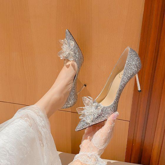 Glitzernden Silber Kristall Pailletten Brautschuhe 2021 Leder 9 cm Stilettos Spitzschuh Hochzeit Pumps Hochhackige