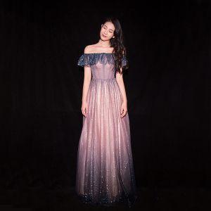 Glitzernden Farbverlauf Rosa Abendkleider 2019 A Linie Off Shoulder Glanz Pailletten Kurze Ärmel Rückenfreies Lange Festliche Kleider