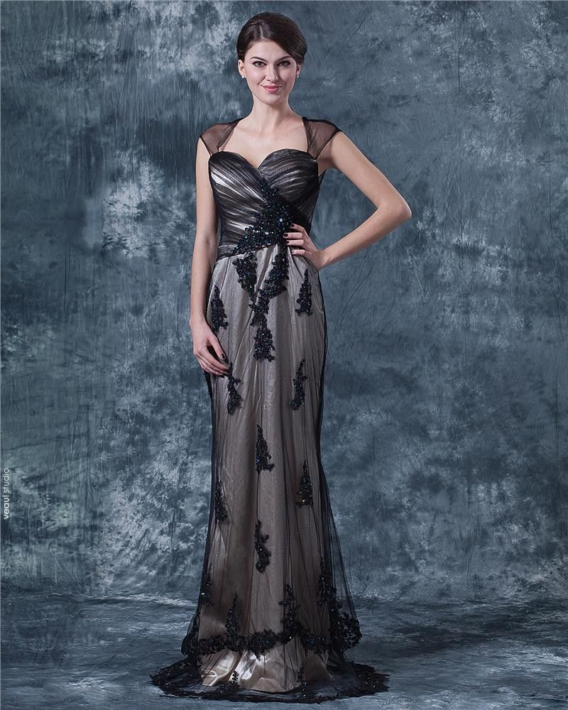Lace Ruffle Queen Anne Floor Length Mothers of Bride Guests Dresses