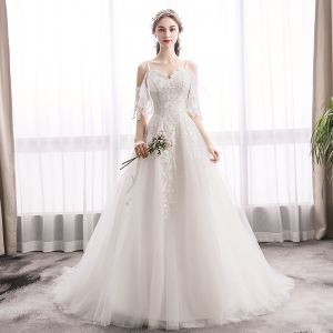 Chic / Beautiful Ivory Wedding Dresses 2019 A-Line / Princess Spaghetti Straps Lace Flower Short Sleeve Backless Sweep Train