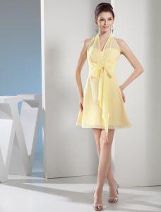 Unique Empire Halter Bow Sash Short Cocktail Dress Little Party Dress