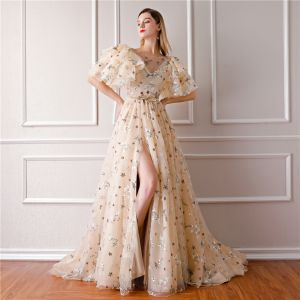Modern / Fashion Champagne Evening Dresses  2019 A-Line / Princess Square Neckline Puffy Short Sleeve Embroidered Metal Sash Split Front Chapel Train Ruffle Backless Formal Dresses