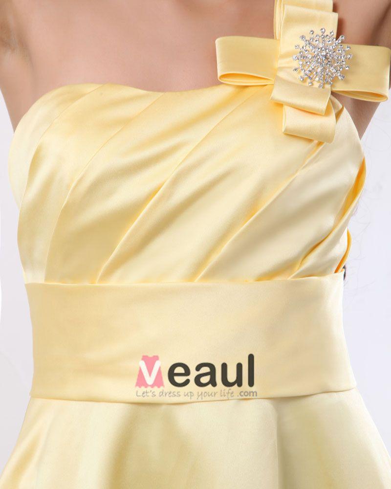 Ruffle One Shoulder Satin Knee Length Bridesmaid Dresses