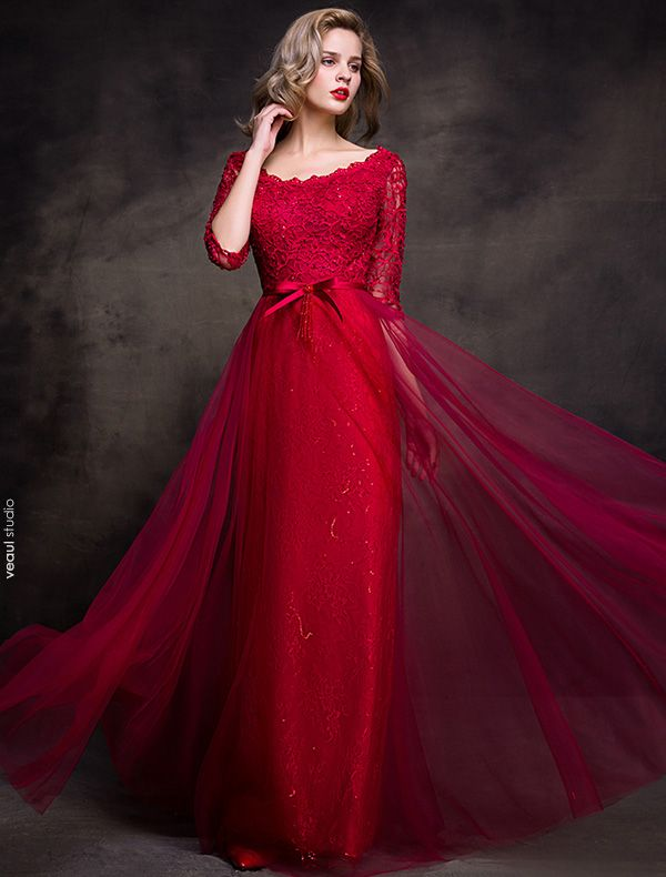 Charming Evening Dresses 2016 Scoop Neck Glitter Burgundy Lace Tulle Long Party Dress
