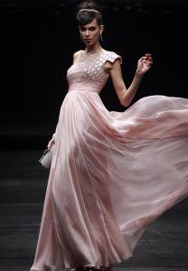 Empire One Shoulder Sleeveless Floor Length Bead Chiffon Evening Dresses