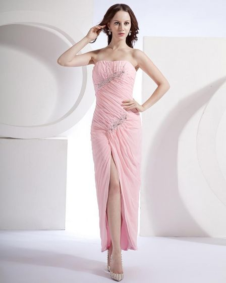 Empire Bead Strapless Ankle Length Chiffon Women's Evening Party Dress