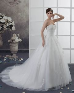 Organza Applique Beading Sweetheart Chapel Empire Wedding Dress