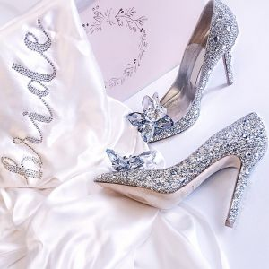 Sparkly Silver Cinderella Wedding Shoes 2018 Crystal Rhinestone Leather Pointed Toe High Heels