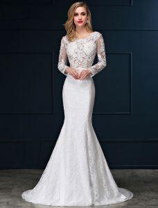 Mermaid Square Neckline Long Sleeves Pierced Lace Wedding Dress
