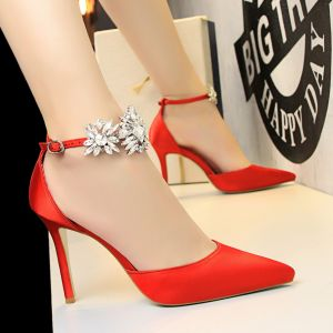 Chic / Beautiful Red Evening Party Womens Shoes 2019 Ankle Strap Rhinestone 9 cm Stiletto Heels Pointed Toe High Heels