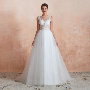 Illusion Ivory See-through Wedding Dresses 2020 A-Line / Princess Square Neckline Sleeveless Appliques Lace Sequins Sweep Train Ruffle