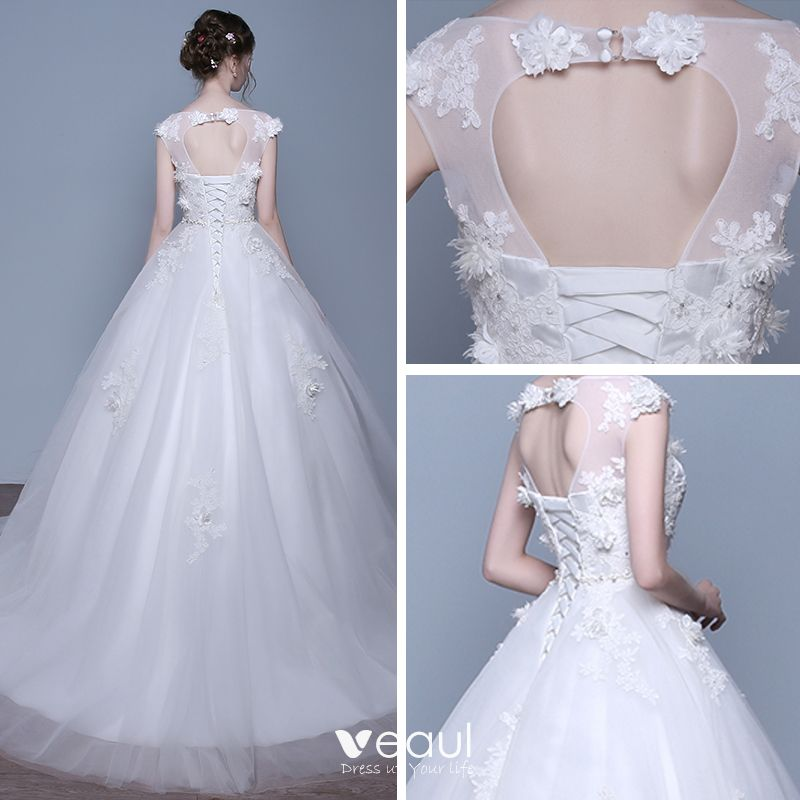 Chic / Beautiful Church Wedding Dresses 2017 Lace Appliques Crystal Sash Scoop Neck Sleeveless Backless Chapel Train White Ball Gown