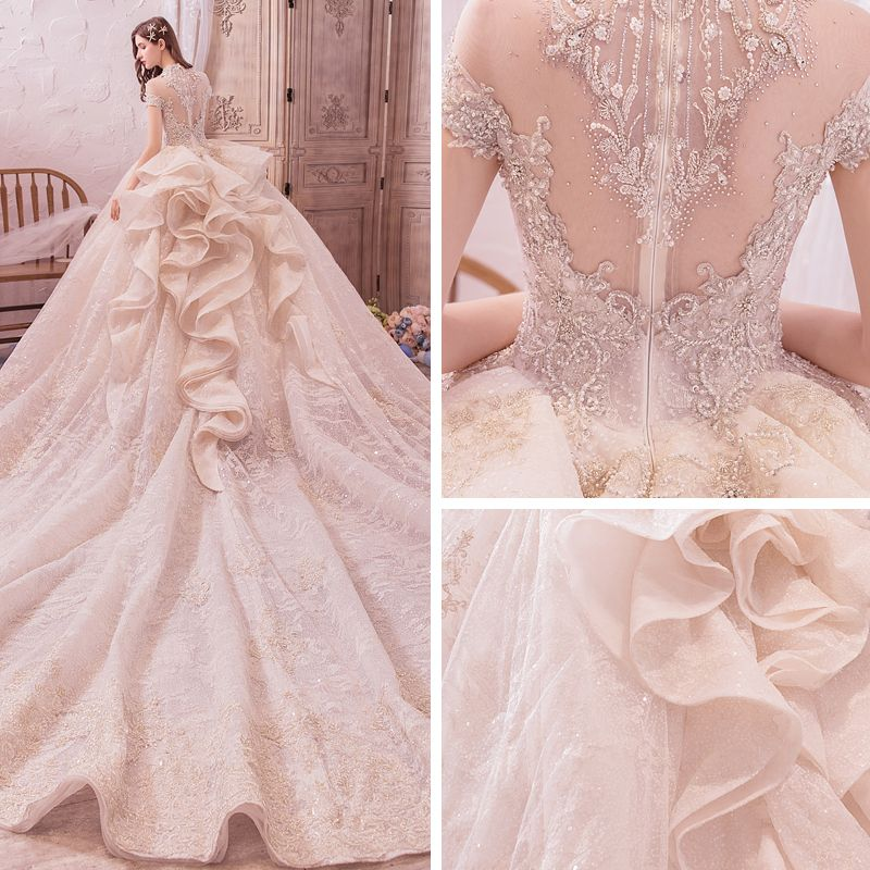 Vintage / Retro Champagne See-through Wedding Dresses 2019 Ball Gown High Neck Short Sleeve Backless Handmade  Beading Appliques Lace Glitter Tulle Royal Train Ruffle