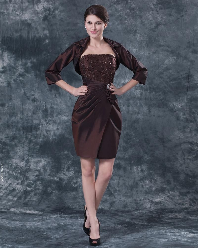 Strapless Knee Length Chiffon Beading Mothers of Bride Special Guests Dress