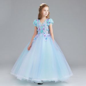 Chic / Beautiful Pool Blue Sky Blue Flower Girl Dresses 2017 Ball Gown V-Neck Short Sleeve Flower Appliques Lace Floor-Length / Long Ruffle Wedding Party Dresses