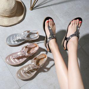 Chic / Beautiful Summer Black Beach Slipper & Flip flops 2020 Rhinestone Open / Peep Toe Womens Shoes
