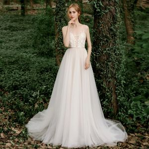 Illusion Champagne Outdoor / Garden See-through Wedding Dresses 2020 A-Line / Princess Scoop Neck Sleeveless Sash Backless Appliques Lace Beading Sweep Train Ruffle