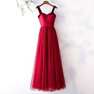 Chic / Beautiful Burgundy Prom Dresses 2019 A-Line / Princess Spotted Suede Spaghetti Straps Backless Short Sleeve Floor-Length / Long Formal Dresses