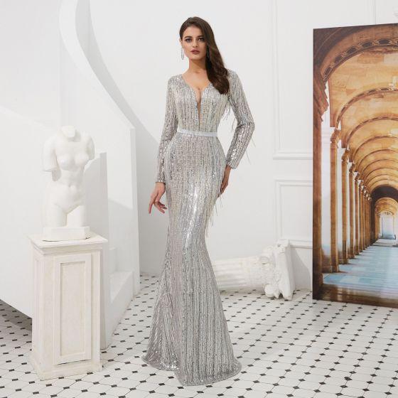 Luxury / Gorgeous Sparkly Grey Evening Dresses  2020 Trumpet / Mermaid See-through Deep V-Neck Long Sleeve Sequins Beading Tassel Sash Floor-Length / Long Formal Dresses
