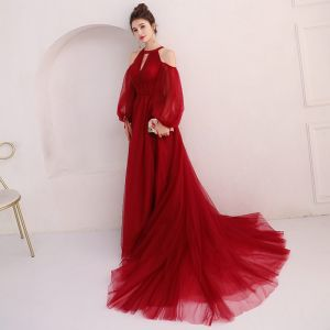 Elegant Burgundy Evening Dresses  2018 A-Line / Princess Scoop Neck Puffy Long Sleeve Court Train Ruffle Backless Formal Dresses