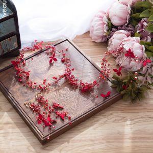 Charmerende Rød Pandebånd Brudesmykker 2020 Legering Krystal Blomsten Hårpynt Tassel Øreringe Bryllups Accessories