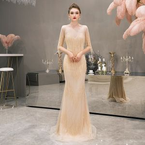 Luxe Jaune Transparentes Robe De Soirée 2019 Trompette / Sirène Encolure Dégagée Sans Manches Perlage Gland Longue Volants Robe De Ceremonie