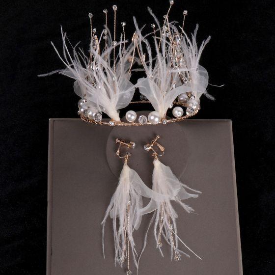 Hada de las flores Oro Joyas 2020 Metal Rebordear Perla Rhinestone Pluma Tiara Pendientes Tocados de novia