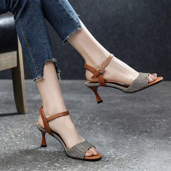 Vintage Casual Brun Sandaler Dame 2019 Læder Ankel Strop 6 cm Stiletter Peep Toe Sandaler